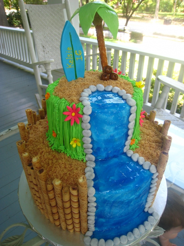 Luau Waterfall Cake