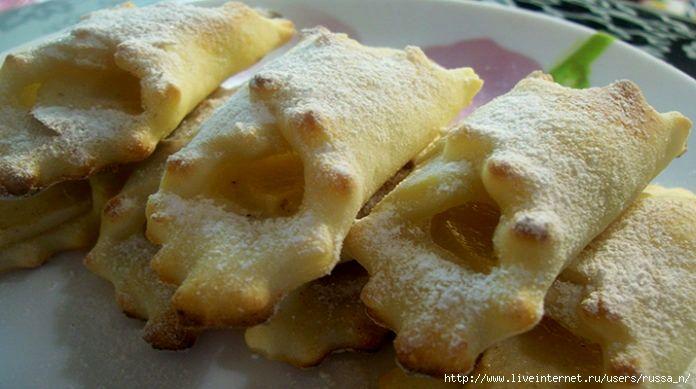 Творожное печенье быстрого приготовления — платочки с яблоками