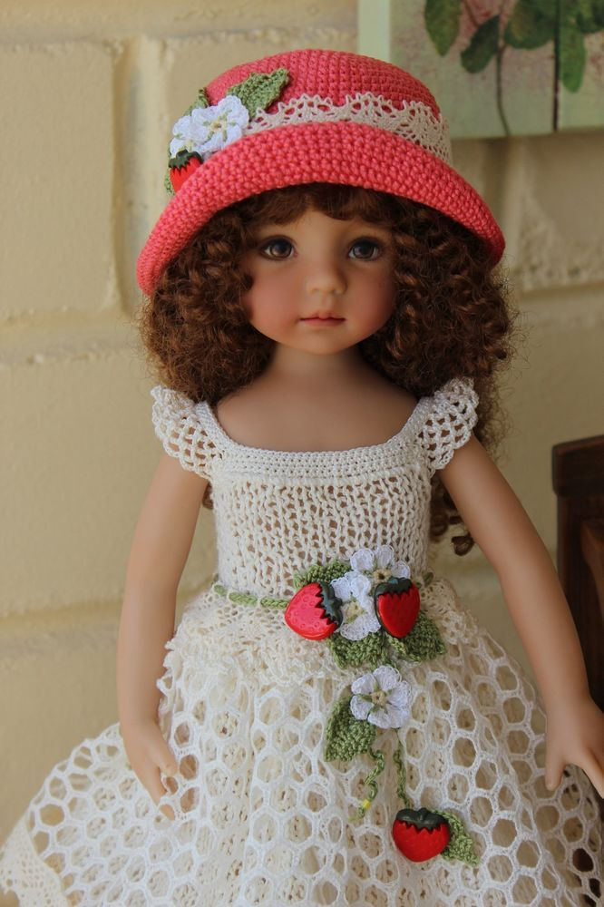 "Handmade outfit ""Strawberries"" for 13"" Effner LD or similar size Dolls OOAK"