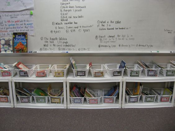 wal-mart cheapie shelves taken apart - line up underneath bulletin board wall and front of the room for classroom library and use school bookshelves for teacher desk materials. no teacher desk - take 2!: