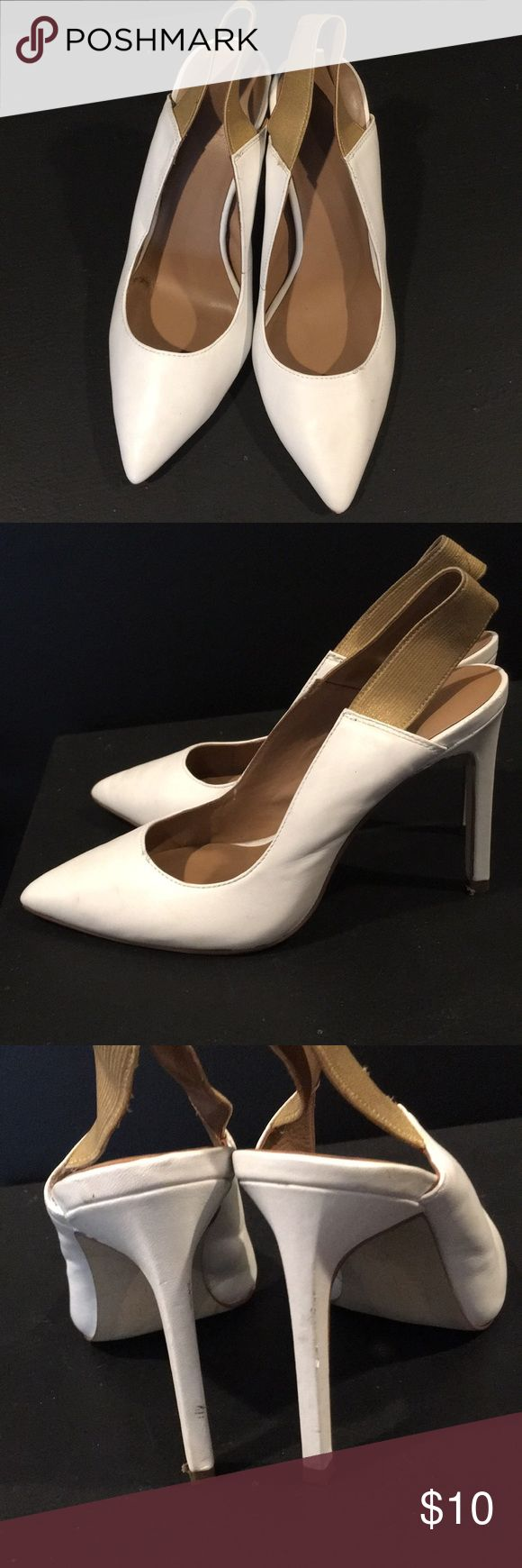 Fifth City white and gold strapped heels Fifth City white and gold strapped heels, worn only once and they're too small. Only sign of wear is on bottom fifth city Shoes Heels