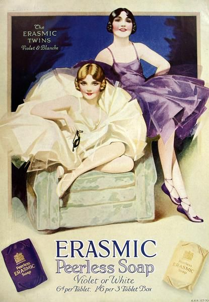 An old advertisement from 1929 for Erasmic soap featuring the Erasmic Twins, Violet and Blanche.