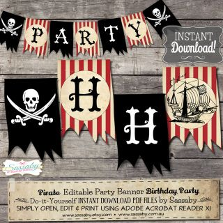 Ahoy me Hearties!  Decorate your Pirate Party with this themed Party Banner that you can edit