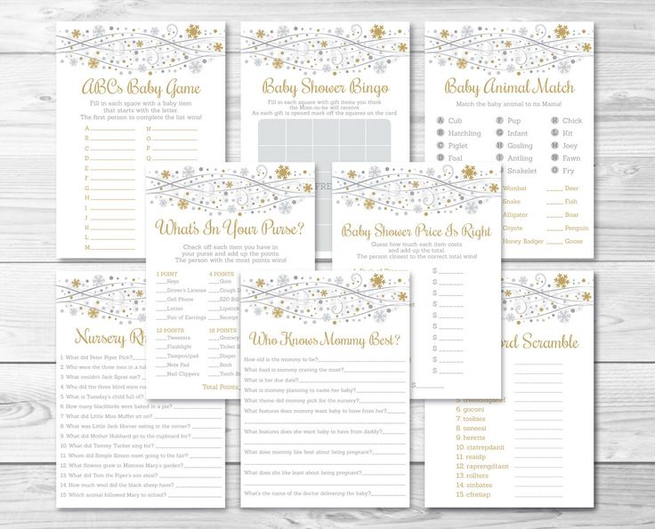 Silver U0026 Gold Snowflake Baby Shower Games Package / 8 Printable Games / Snowflake  Baby Shower / Winter Baby Shower / INSTANT DOWNLOAD