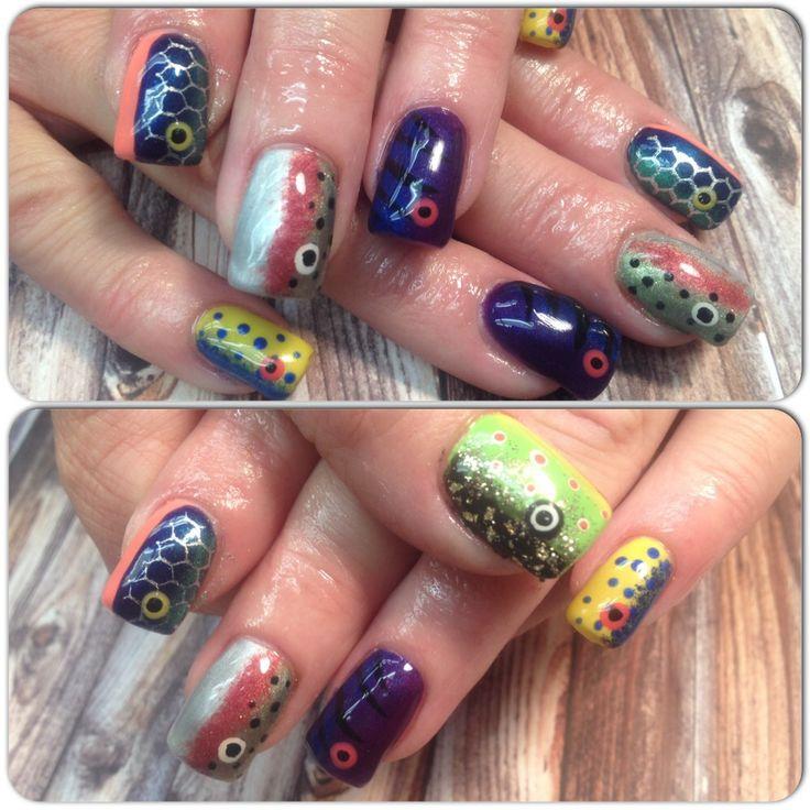 Fishing lure nail art