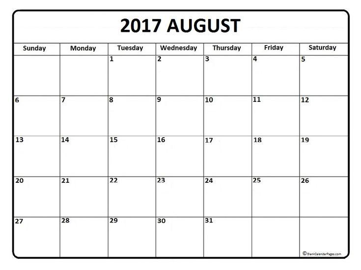 August calendar 2017 printable and free blank calendar