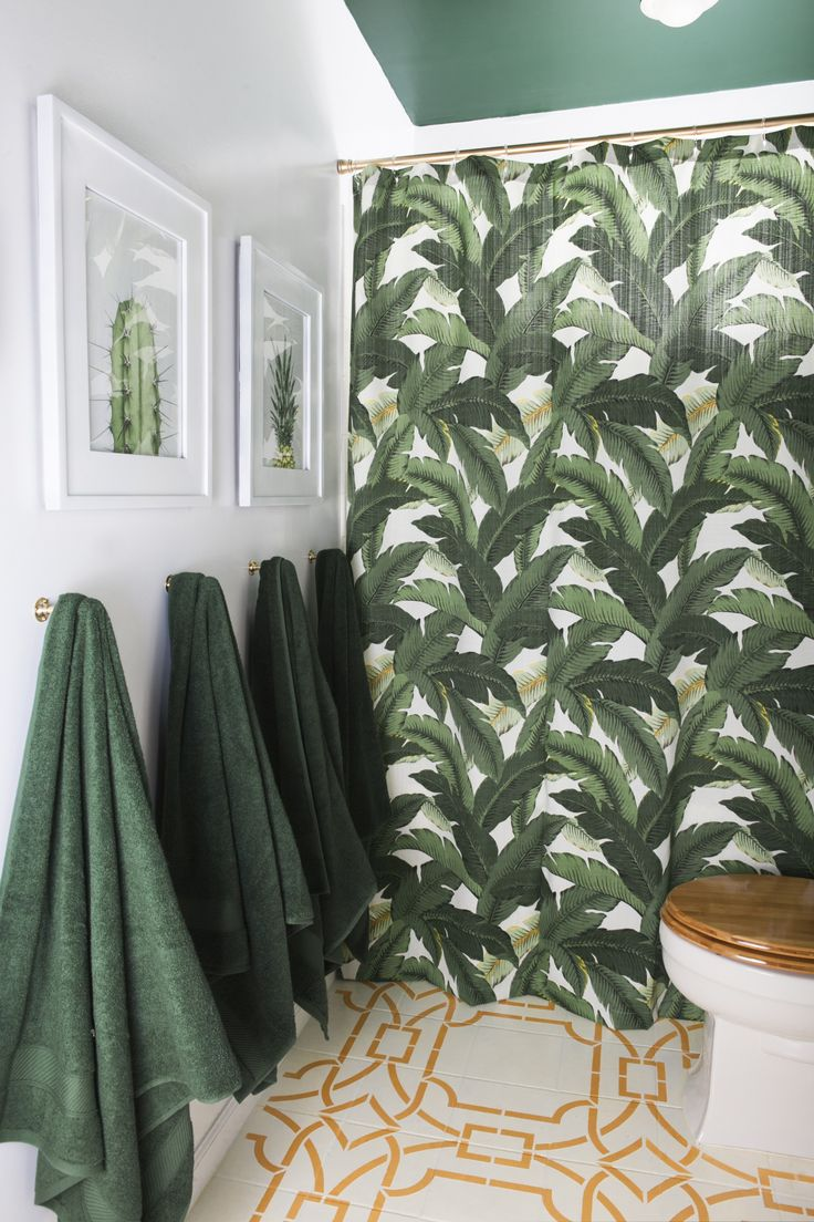 Modern Boho Bathroom Tropical Feel From The Green Banana Leaf Shower Curtain Hunter