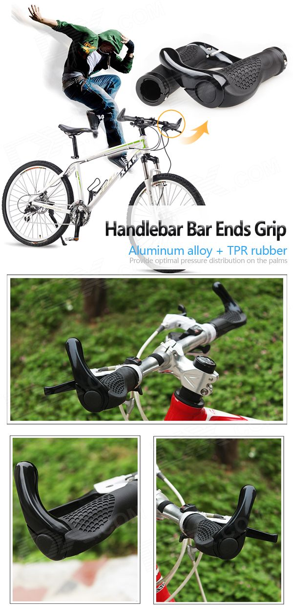 Buy Mountain Bike Cycling Rubber + Aluminum Alloy Handlebar Bar Ends Grip (Pair)