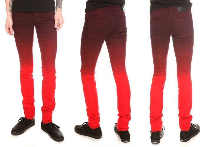 Hot Topic Men's RUDE Red Gradient Wash Skinny Jeans