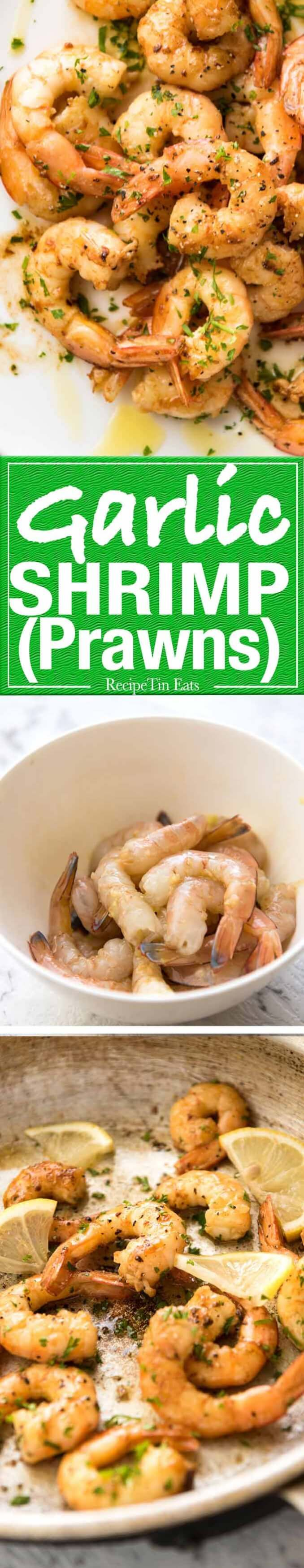 A sensational, simple way to cook prawns, these Garlic Prawns are made with garlic, olive oil and a splash of white wine. www.recipetineats.com