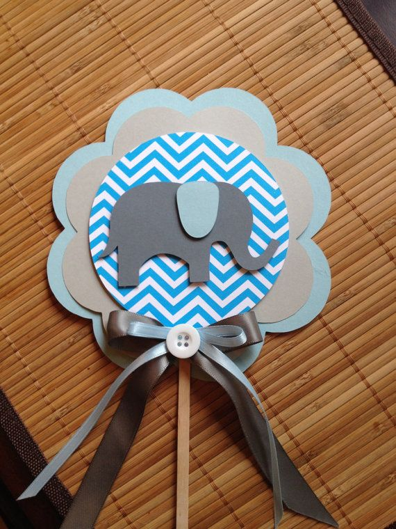 Elephant chevron centerpiece baby shower por Wildflowercraft