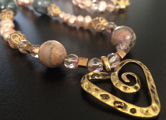 Handmade beaded necklace with semi precious Rhodonites by BYTWINS, €70.00