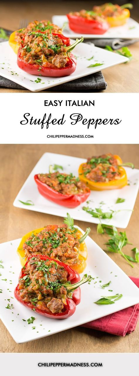 Easy Italian Sausage Stuffed Peppers - Stuffed peppers are easy to make with this recipe. Bell peppers stuffed with Italian sausage, tomato sauce and cheese, then baked.   ChiliPepperMadness.com