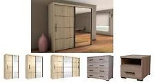 Inova Sliding Door Wardrobe Oak Bedroom Furniture Bedside Chest of Drawers NEW