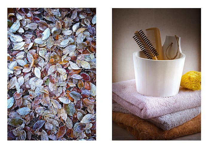 seau a sauna en bois brosse a cheveux feuilles automne avec givre
