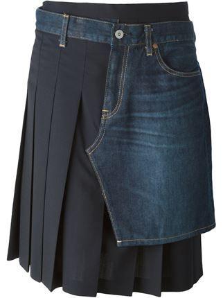 Junya Watanabe Comme Des Garçons falda plisada con capa superpuesta de denim