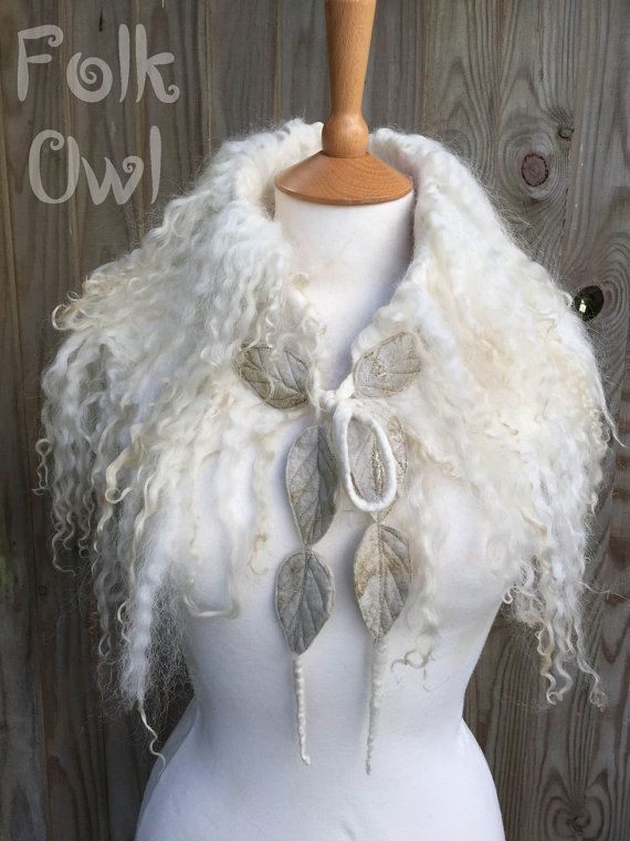 Elven collar snow queen-Forest Cowl  shoulder capelet  by folkowl