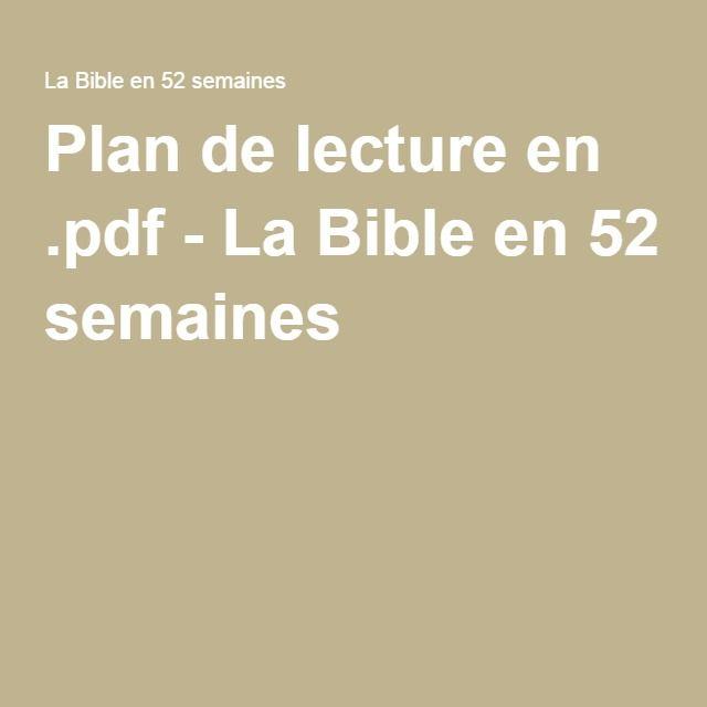 Plan de lecture en .pdf - La Bible en 52 semaines