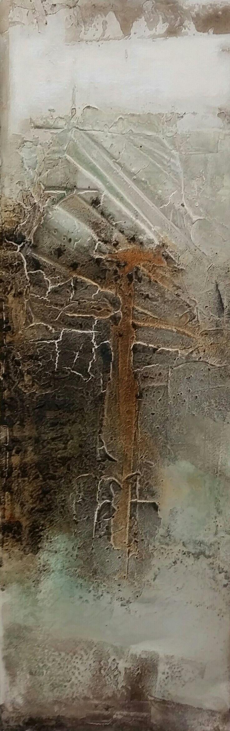 Strukturbild mit Braunkohle 0,40x1,20 m
