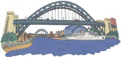 A classic view looking down the River Tyne with the memories of the Tuxedo Princess moored underneath the bridge.