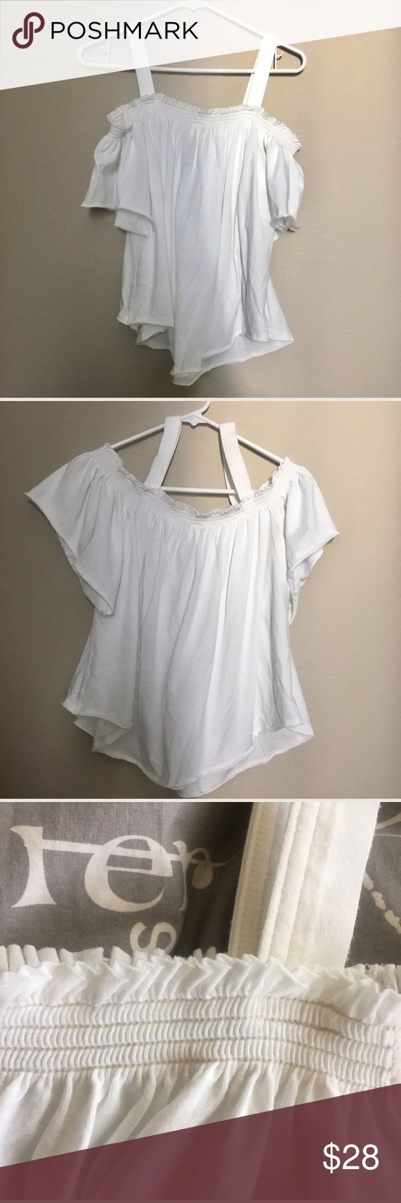 """Free People Cold Shoulder White Top Free People Cold Shoulder White Top  •Like new! •Lightweight and comfortable! •Stretchy elastic band around chest and shoulders   •Approximate Measurements: Bust: 34.5"""" Neckline to bottom: 18""""  Ships SAME or NEXT DAY from a SMOKE-FREE environment! Free People Tops Blouses"""