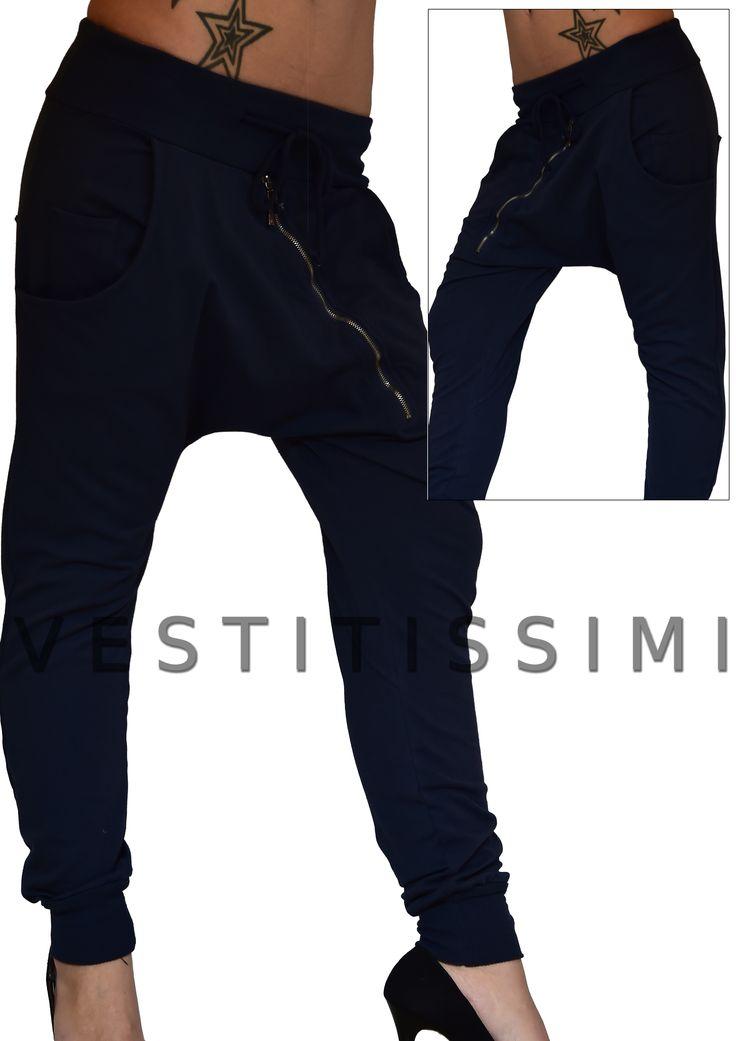 Pantalone donna sportivo colore blue con tasche, cerniera frontale e laccio in vita