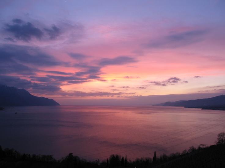 Sunset in Montreux Riviera  © Fabrice Bertolami