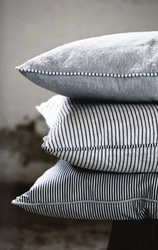 Striped pillowcases.