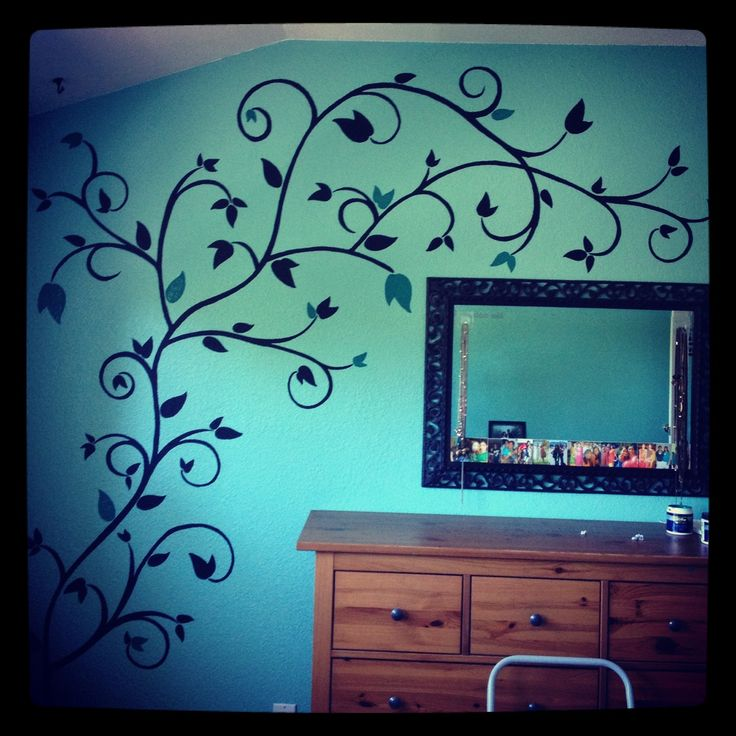 Hand painted wall design my work pinterest discover for Bedroom designs paint
