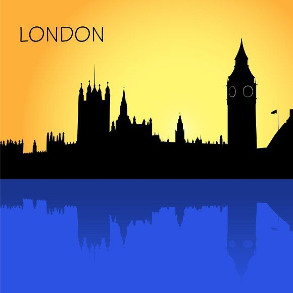 london skyline, vector Graphics London, skyline, vector illustration in flat design for web sites, Infographic design by Sunshine