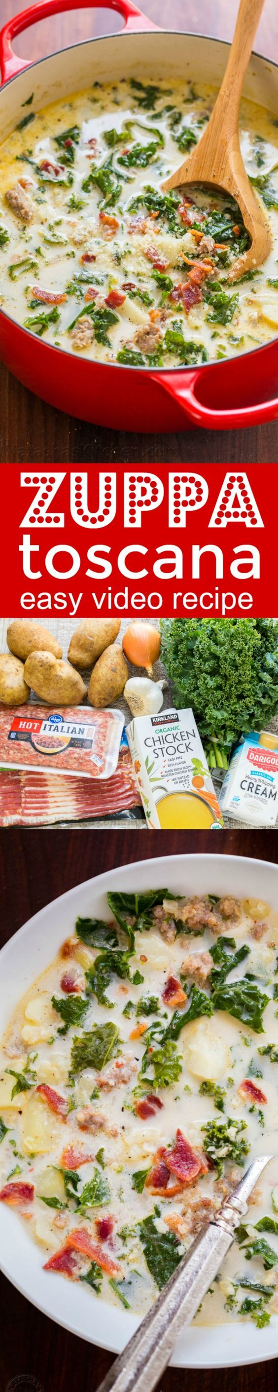 One-Pot Zuppa Toscana Recipe - a family favorite for years! Watch how-to VIDEO for our copycat version of Olive Garden's most popular Zuppa Toscana soup.   natashaskitchen.com