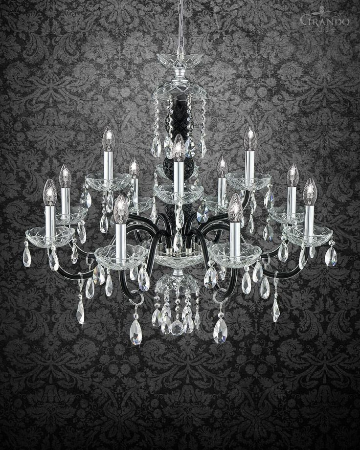 Chandeliers 104/8+4 CH chrome black crystal chandelier - GrandoLuce