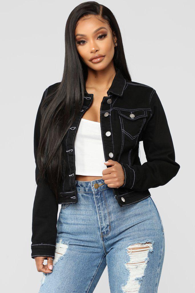Naomi Denim Jacket Black Black Denim Jacket Black Denim Jacket Outfit Denim Jacket