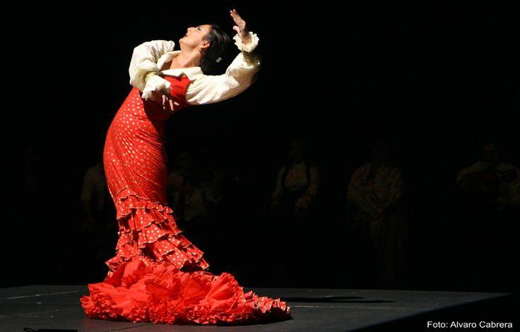 Flamenco bailaora bailó en vestido rojo y camisa blanca...