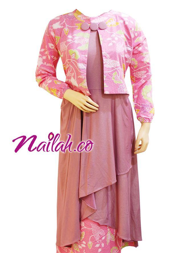Baju Muslim Cantik ~Gamis Pesta Batik Pink D~