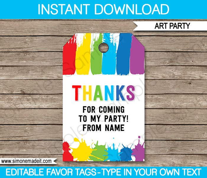 Art Party Favor Tags Template