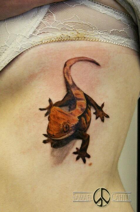 My crested gecko tattoo, first tattoo I got, Natalie.W #samaelcahill #reptile #tattoo
