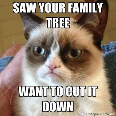 Grumpy cat meme about wanting to cut down your family tree.