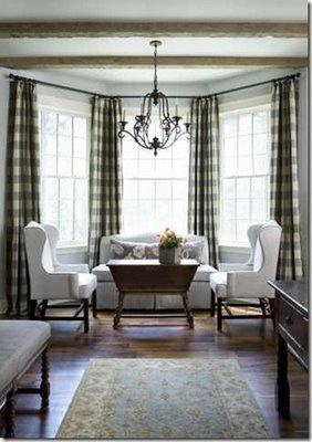 love the buffalo check drapes like the furniture arrangement may have to rearrange my chairs near large window