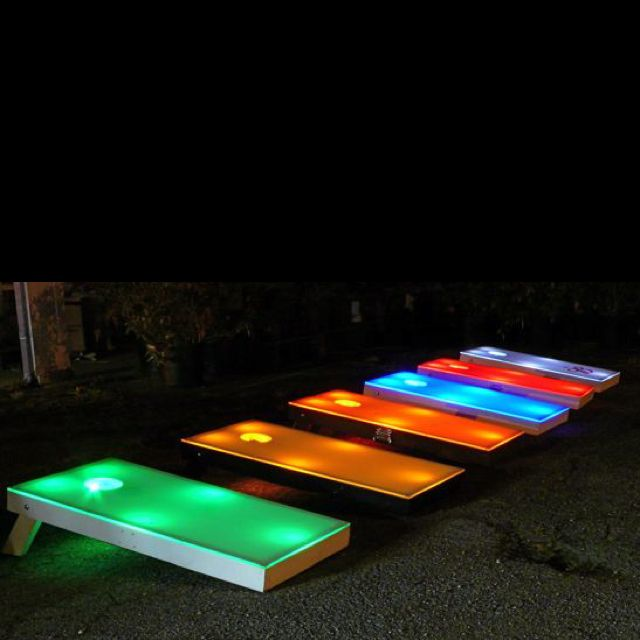 Night time cornhole! I LOVE it!