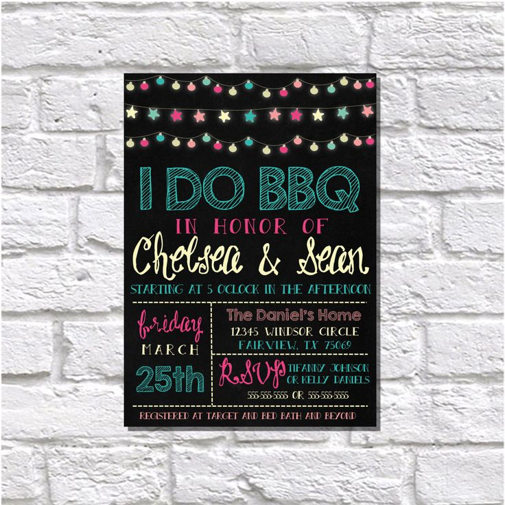A personal favorite from my Etsy shop https://www.etsy.com/listing/231073803/i-do-bbq-invitation-rehearsal-dinner