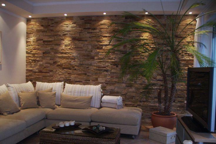 Wohnzimmer Tapezieren Ideen Die Gestaltung Der Wände Mit Felsen Es Ist Eine  Pflanze In Den Abschnitten