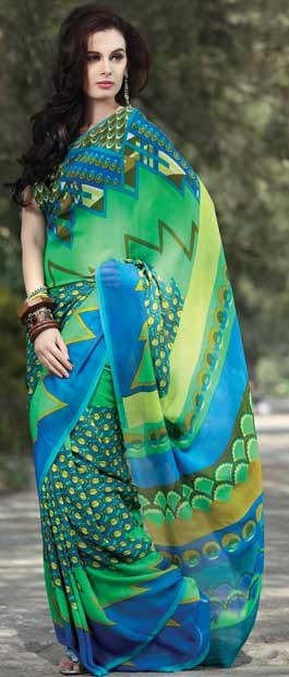 Multicolor Pure Georgette Saree with Blouse | $100.55