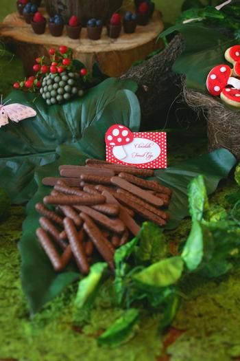chocolate covered biscuits make great party food at a woodland party