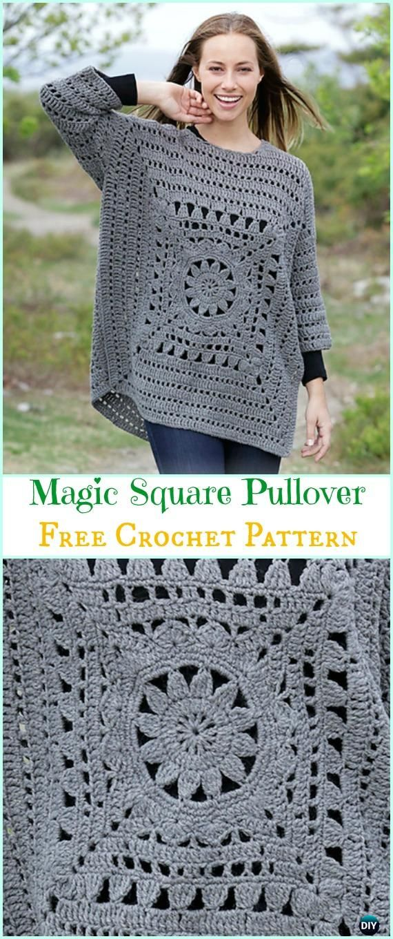 Crochet Magic Square Pullover Free Pattern - Crochet Women Sweater Pullover Top Free Patterns