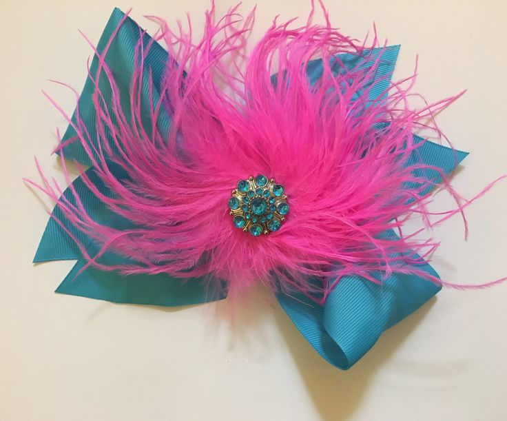 Dance Competition Feather Hair Bows.Hot Pink Pink Turquoise Feather Bow Fascinator Clip,Headband. Fancy Girl custom made. All colors.