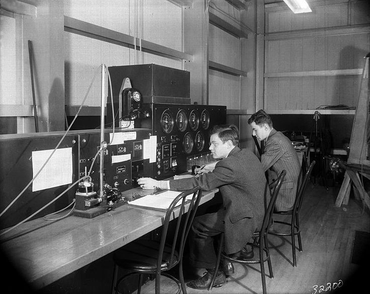 Engineers operate the controls of the Stability Tunnel, 10 March 1943, public domain via Wikimedia Commons.