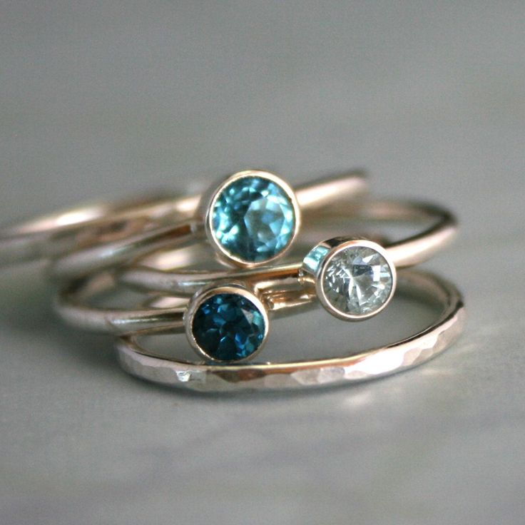 Stacking Rings Topaz & Aquamarine, Sterling Silver, Ocean Blue, Stackable Ring Band, Stack Ring.