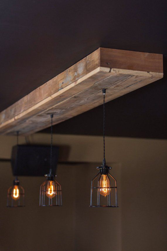 Choose Size Made to Order Reclaimed Barn Wood Siding Fixture with Caged Edison Bulbs for // Bar // Restaurant // Home – Rustic Lighting