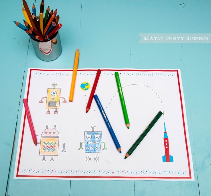 DIY Robot Party - Coloring Placemat